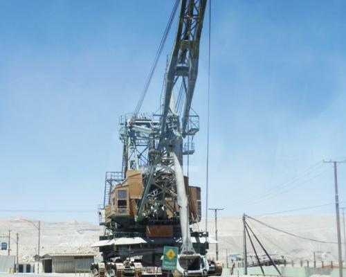 Imagen del monumento Pala Mundial y Archivos del Campamento Minero de Chiquicamata
