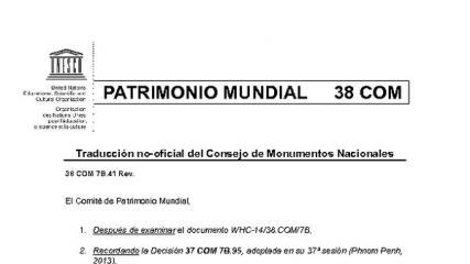 Imagen de Texto Decisión del 38 Comité de Patrimonio Mundial sobre Valparaíso