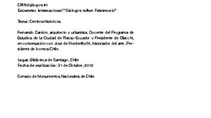 Imagen de CMN Diálogos #1 - Centros históricos